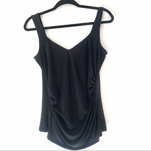 Laundry Black Ruched High Low Sleeveless Top Sz M